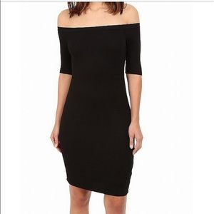 Splendid Ribbed off the shoulder blck Dress MEDIUM